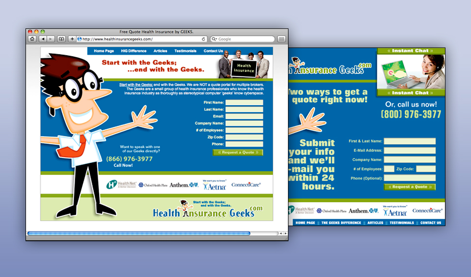 Health Insurance Geeks - Landing Pages